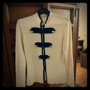 autumn cashmere navy & cream cardigan